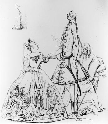 'Thou Tuneful Scarecrow and Thou Warbling Bird', caricature of Farinelli, Cuzzoni and Heidegger
