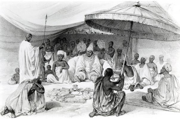 The Attah, from 'Picturesque Views on the River Niger, sketched during Lander's last visit in 1832-33', lithograph by Charles Haghe, 1840