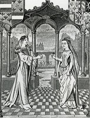 Betrothel of Maximilian I and Mary, Duchess of Burgundy in 1477, after an image in the 'Chroniques de Flandre'