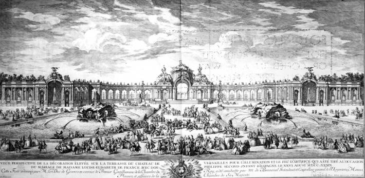 Perspective view of the terrace at Versailles on the occasion of the marriage of Louise Elisabeth of France with Philip of Spain in 1739, engraved by Charles Nicolas Cochin fils, 1741