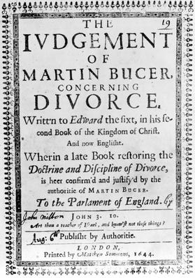 Titlepage from 'The Judgement of Martin Bucer concerning Divorce' by John Milton, published in 1644