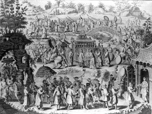 Procession of a Bride going home to her Husband, illustration from 'A New General Collection of Voyages and Travels', compiled by John Green, 1747