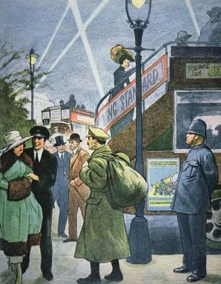 London street scene in WWI, soldier on leave, c.1914-18