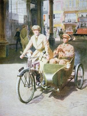 Royal Air Force female motor-cyclist at work in the Strand, London, 1918