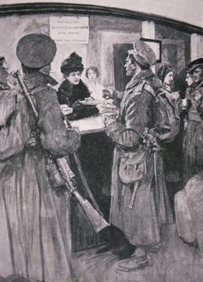Queen Alexandria serving soldiers from a buffet at London Railway Station