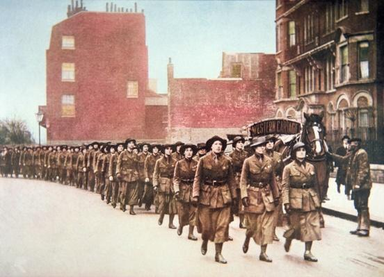 Women volunteers for a defence march through London