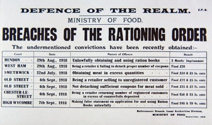Defence of the Realm Act, Ministry of Food notice, 1918