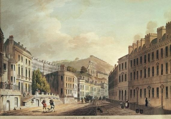 Axford and Paragon Buildings from 'Bath, Illustrated by a Series of Views', engraved by I. Hill, 1806