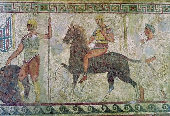 Cavalryman and a foot soldier, tomb painting from Paestum