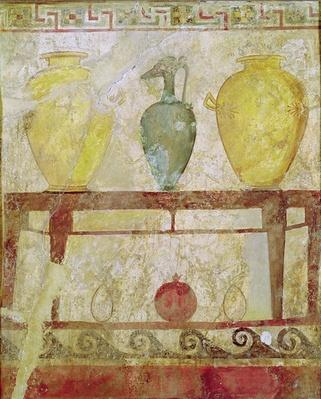 Funerary plaque with an offering of vases, tomb painting from Paestum