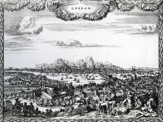 The Great Fire of London, engraved by Justus Danckerts, c.1670-90s