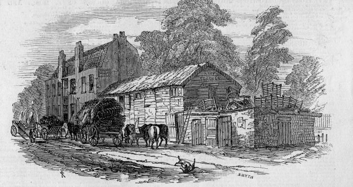The Half-Way House between Knightsbridge and Kensington, engraved by Frederick James Smyth, 1848