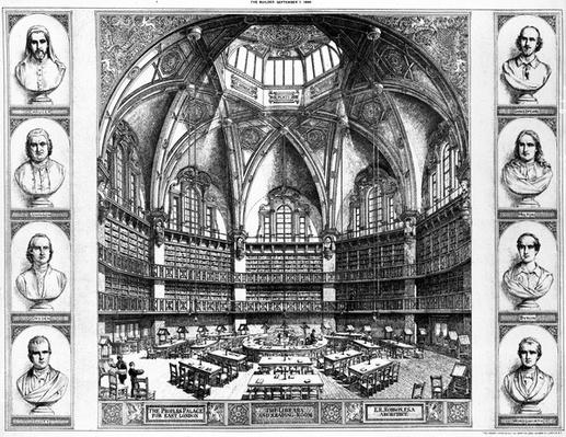 The Library and Reading Room at The People's Palace for East London, c.1880s