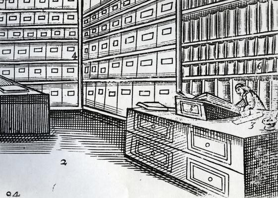 Bookshop, illustration from 'Orbis Sensualium Pictus' by John Amos Comenius, published c.1659