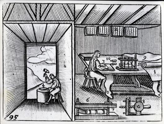 Bookbinding, illustration from the 'Orbis Sensualium Pictus' by John Amos Comenius, English edition published 1659
