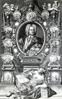 Frontispiece to 'Naval History of England' by Thomas Lediard, published 1735