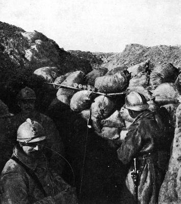 Enemies in the same trench during WWI, French and German soldiers seperated only by a wall of sandbags