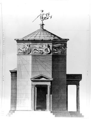 A reconstruction of The Tower of Winds in the Roman agora in Athens, engraved in 1762