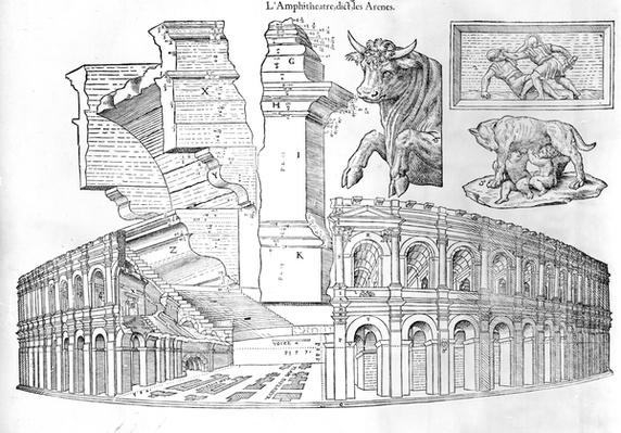The Arena of Nimes, illustration from 'Discours historial de l'antique et illustre cite de Nismes' by Jean Poldo d'Albenas, published in 1560