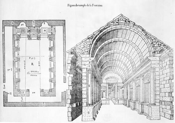 Temple de la Fontaine, illustration from 'Discours historial de l'antique et illustre cite de Nismes' by Jean Poldo d'Albenas, published in 1560