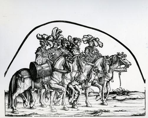 A Group of Drummers, from the Triumphal Procession of the Emperor Maximilian I, c.1517