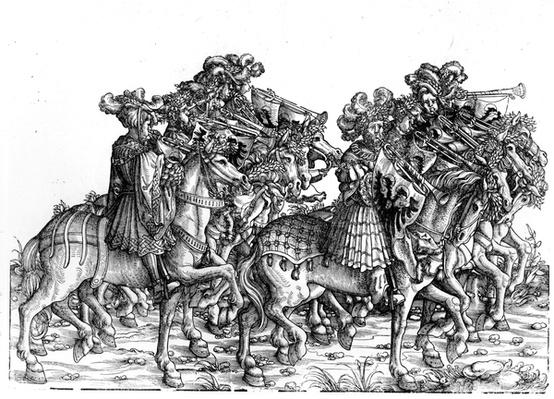 Ten Musicians with Trumpets, from the Triumphal Procession of the Emperor Maximilian I, c.1517
