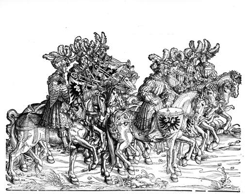 Ten Musicians, from the Triumphal Procession of Maximilian I, c.1517