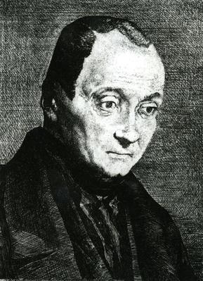 Auguste Comte, etched by Felix Bracquemond, 1851