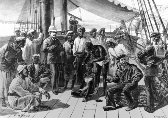Mr Stanley and some of his African followers on board HMS Industry, published in 'The Illustrated London News', January 5 1878