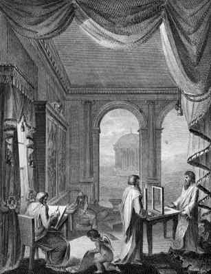 Frontispiece to 'The Cabinet-Maker and Upholsterer's Drawing-Book' by Thomas Sheraton, published 1793