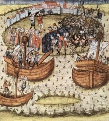 Snark M119: The crusaders loading St. Louis' coffin on board at Tunis in 1270, from the Grandes Chroniques de France, 1450
