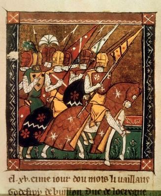 Fr 9084 f.20v: Knights on horseback