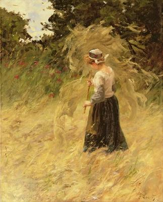 A Girl Harvesting Hay, 19th century
