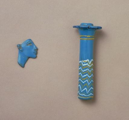 Palm column kohl flask and fragment of inlay of a royal head, from Amarna, New Kingdom