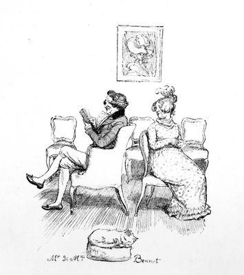 Mr & Mrs Bennet, illustration from 'Pride & Prejudice' by Jane Austen, edition published in 1894