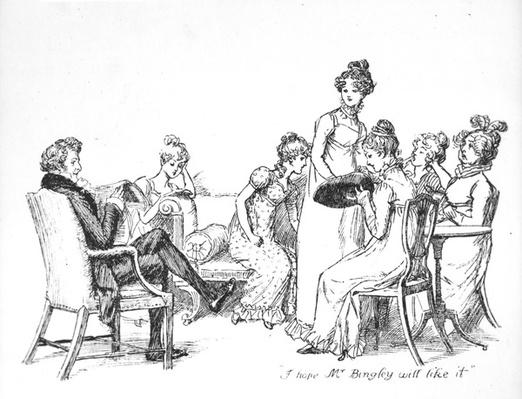 'I hope Mr. Bingley will like it', illustration from 'Pride & Prejudice' by Jane Austen, edition published in 1894
