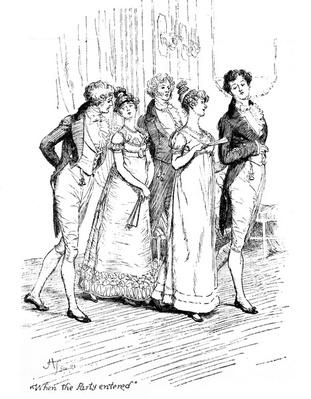 'When the party entered', illustration from 'Pride & Prejudice' by Jane Austen, edition published in 1894