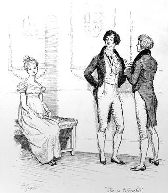 'She is tolerable', illustration from 'Pride & Prejudice' by Jane Austen, edition published in 1894