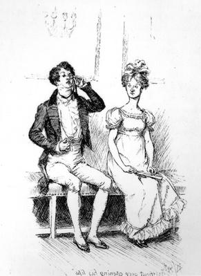 'Without once opening his lips', illustration from 'Pride & Prejudice' by Jane Austen, edition published in 1894
