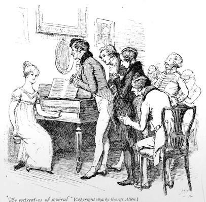 'The entreaties of several', illustration from 'Pride & Prejudice' by Jane Austen, edition published in 1894