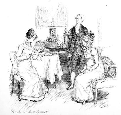 'A note for Miss. Bennet', illustration from 'Pride & Prejudice' by Jane Austen, edition published in 1894