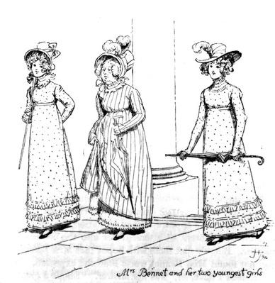'Mrs. Bennet and her two youngest girls', illustration from 'Pride & Prejudice' by Jane Austen, edition published in 1894