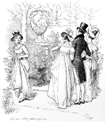 'No, no, stay where you are', illustration from 'Pride & Prejudice' by Jane Austen, edition published in 1894