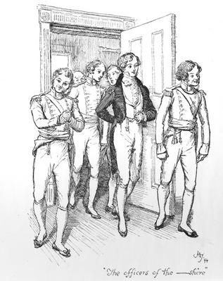 'The officers of the -shire', illustration from 'Pride & Prejudice', edition published in 1894