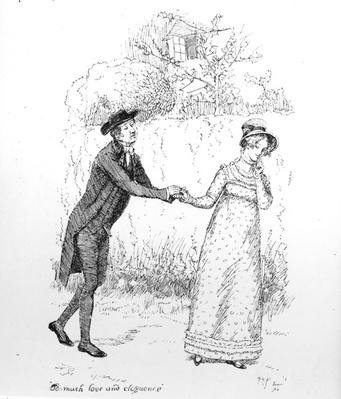 'So much love and eloquence', illustration from 'Pride & Prejudice' by Jane Austen, edition published in 1894