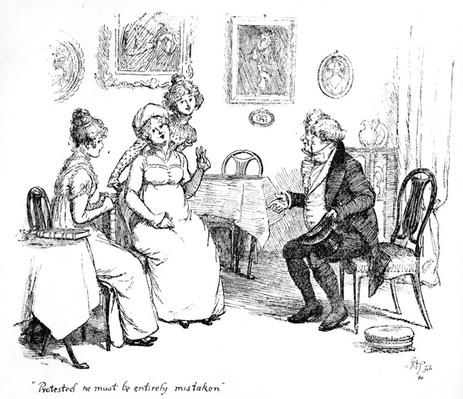 'Protested he must be entirely mistaken', illustration to 'Pride & Prejudice' by Jane Austen, edition published in 1894