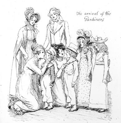 The arrival of the Gardiners, illustration from 'Pride & Prejudice' by Jane Austen, edition published in 1894