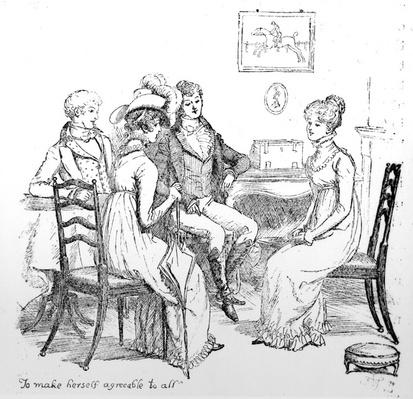 'To make herself agreeable to all', illustration from 'Pride & Prejudice' by Jane Austen, edition published in 1894
