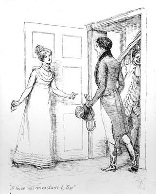 'I have not an instant to lose', illustration from 'Pride & Prejudice' by Jane Austen, edition published in 1894