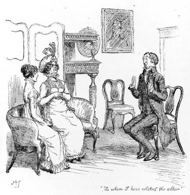 'To whom I have related the affair', illustration from 'Pride & Prejudice' by Jane Austen, edition published in 1894
